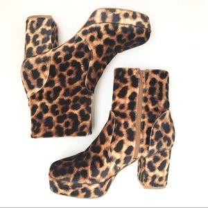 Square Toe Leopard Print Platform Booties